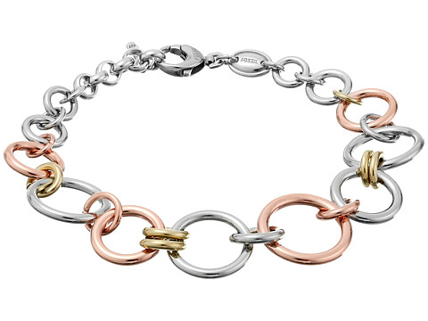 Fossil Tri-Tone Circle Bracelet - Silver/Rose Gold/Gold