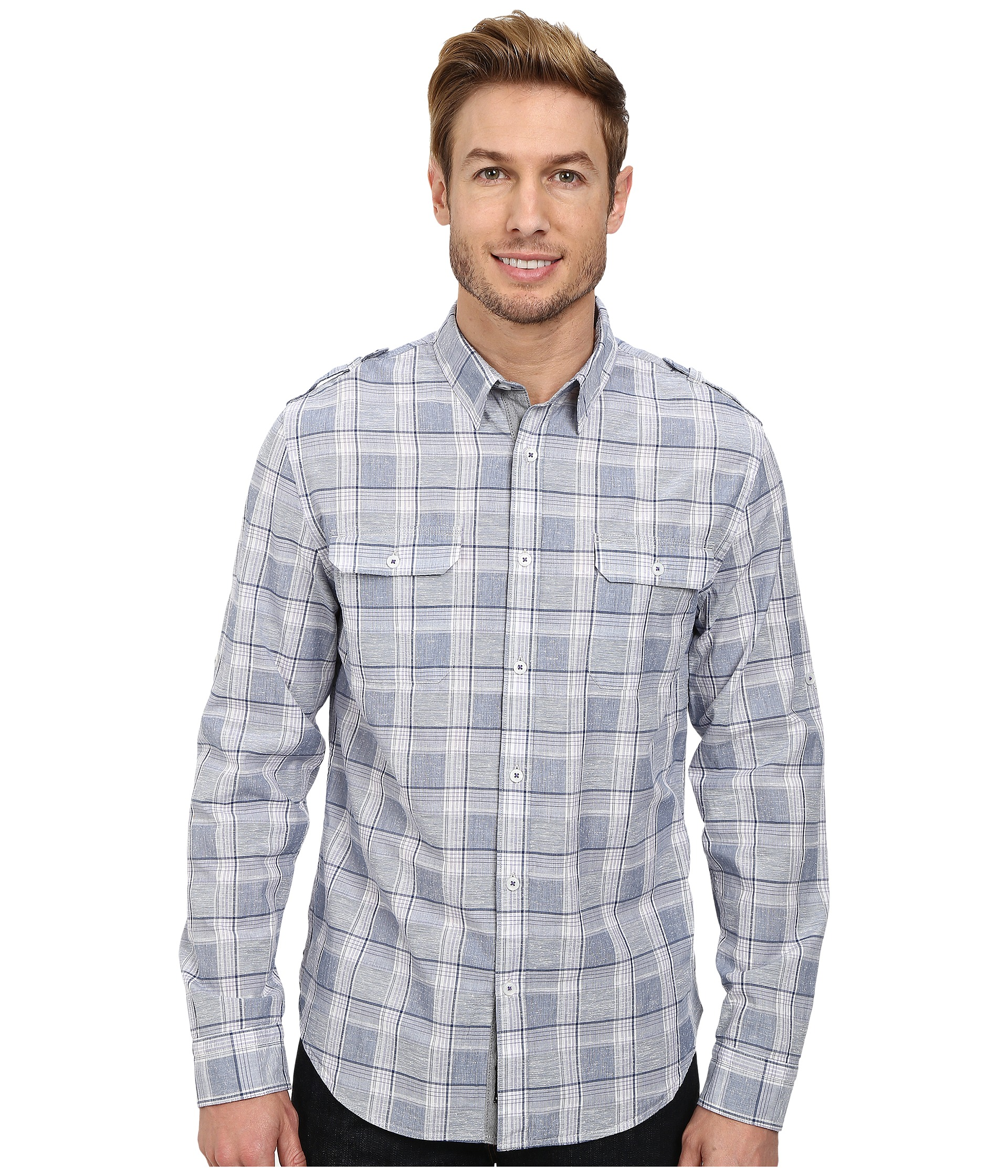 Dkny jeans long sleeve roll tab neppy plaid shirt casual wash for Men s roll tab sleeve shirts