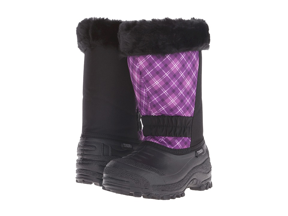 Tundra Boots Kids Glacier Misses (Little Kid/Big Kid) (Black/Plum/Plaid) Girls Shoes