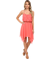 Gabriella Rocha - Lace/Chiffon Belted Hanky Hem Dress