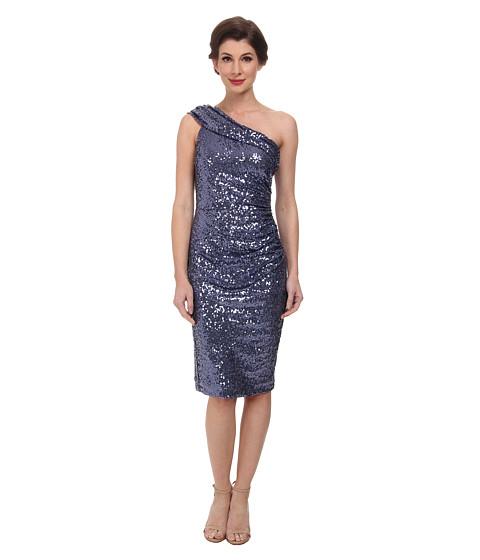 Badgley Mischka - One Shoulder Stretch Sequin Cocktail Dress (Blue Grey) Women's Dress