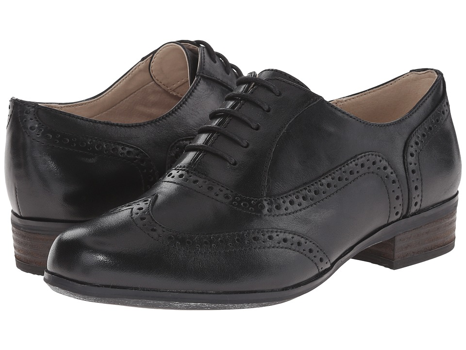 1920s Style Shoes Clarks - Hamble Oak Black Leather Womens Lace up casual Shoes $107.99 AT vintagedancer.com