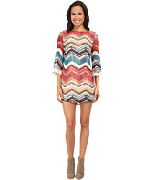 Gabriella Rocha - Chevron Print 3/4 Sleeve w/ Lace Shift Dress
