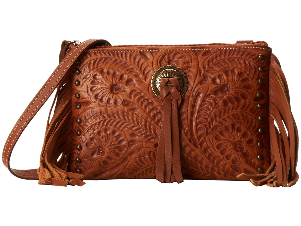 American West - Honky Tonk Days Fringe Crossbody (Golden Tan) Cross Body Handbags