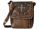 American West Apache Crossbody Flap Bag (Distressed Charcoal Brown)