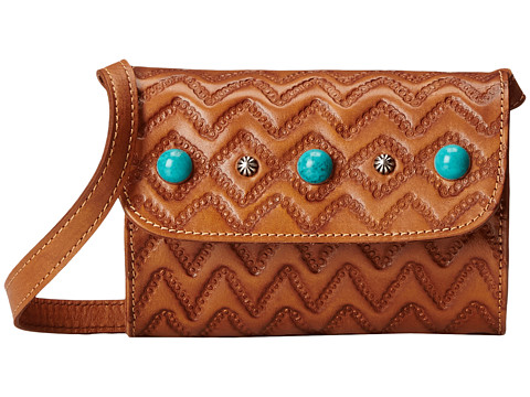 American West Gameday Small Crossbody Bag - Golden Tan/Turquoise