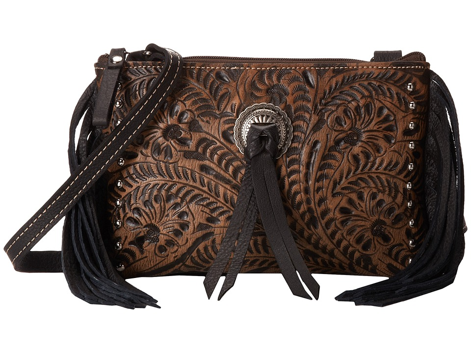 American West - Honky Tonk Days Fringe Crossbody (Distressed Charcoal Brown/Black) Cross Body Handbags