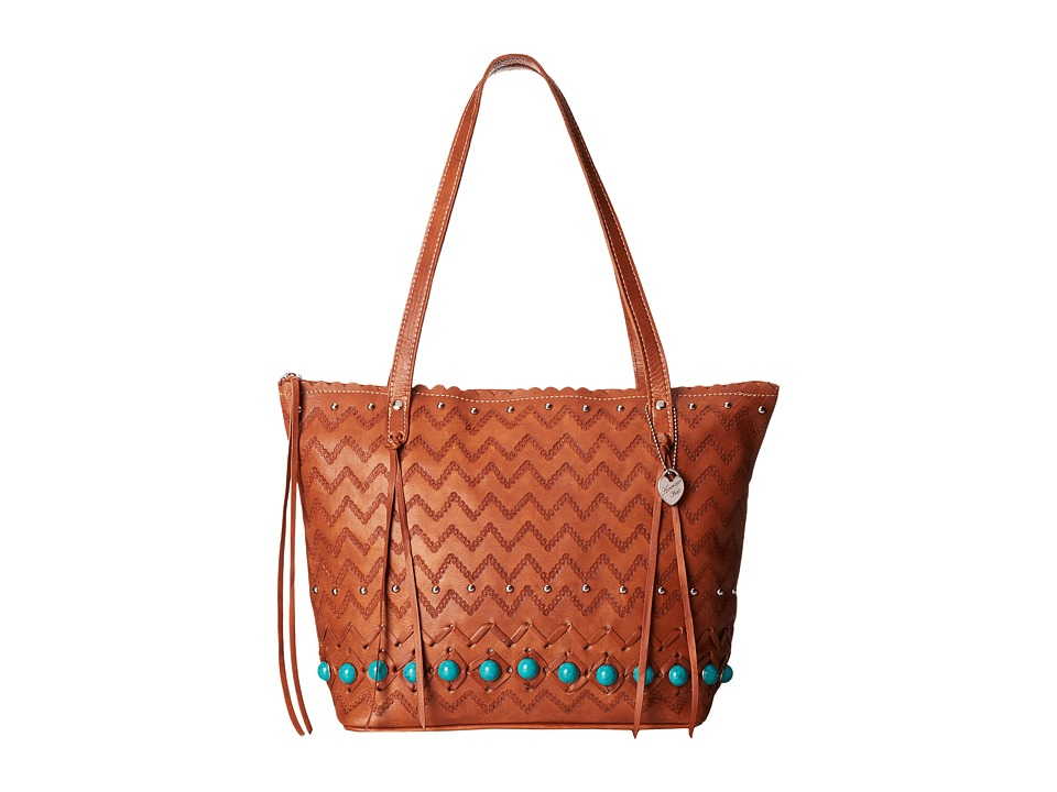 American West - Pavati Zip Top Bucket Tote (Golden Tan) Tote Handbags