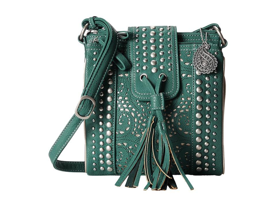American West - Mesa Organized Crossbody (Turquoise/Gold) Cross Body Handbags