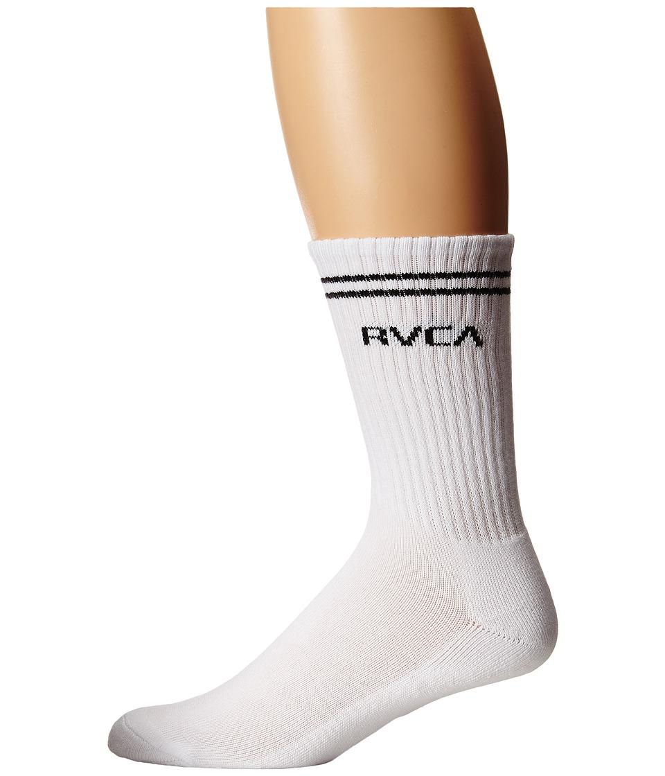 RVCA Union Sock III White Mens Crew Cut Socks Shoes