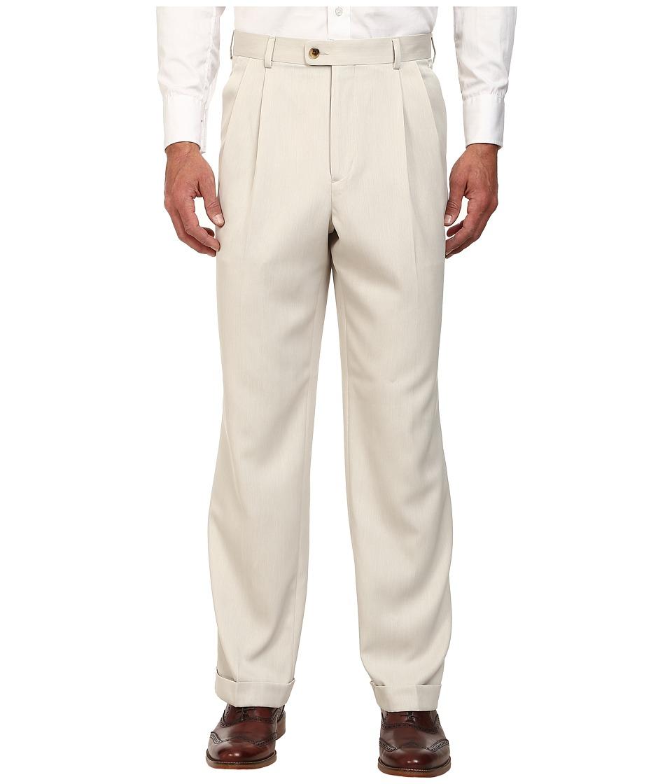 Perry Ellis Portfolio Classic Fit Double Pleat Micro Melange Pant Sand Mens Casual Pants