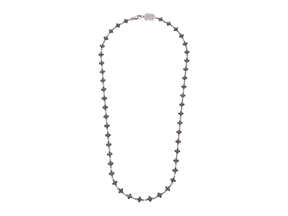 King Baby Studio - Small MB Cross Chain Necklace w/ Black CZ Stones
