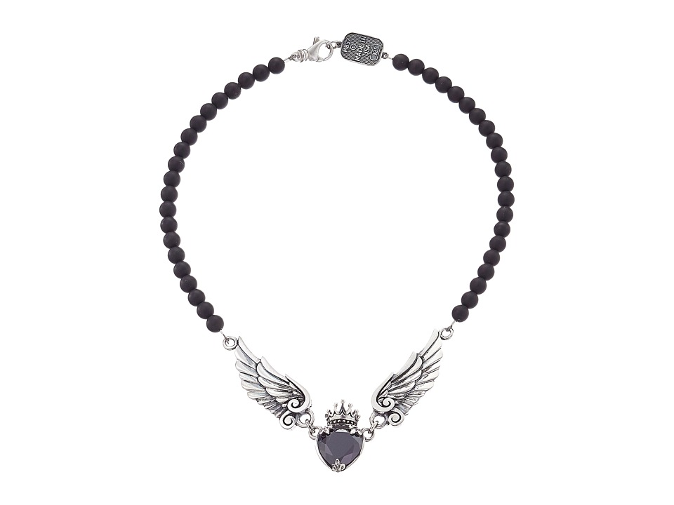 King Baby Studio King Baby Studio - Black CZ Heart w/ Wings on 6mm Onyx Necklace 16