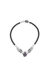 King Baby Studio - Black CZ Heart w/ Wings on 6mm Onyx Necklace 16