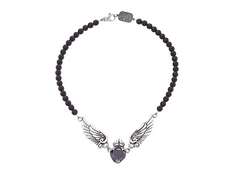 King Baby Studio Black CZ Heart w/ Wings on 6mm Onyx Necklace 16