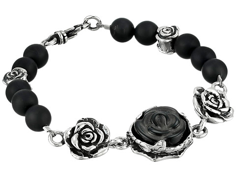 King Baby Studio 8mm Onyx Bead Bracelet with Carved Jet Rose and Silver Roses