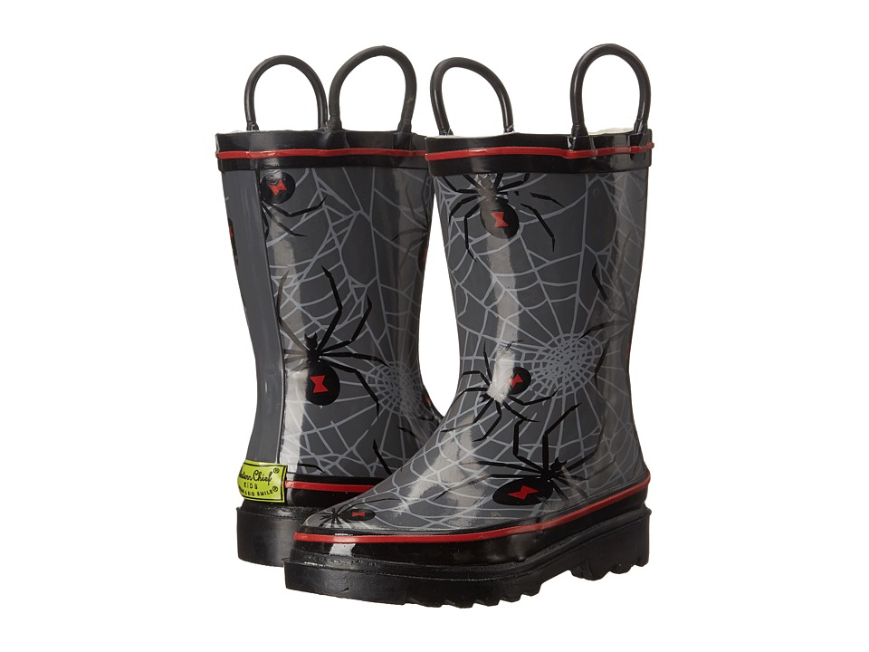 Western Chief Kids Spider Web Crawl Rainboots Toddler/Little Kid/Big Kid Charcoal Boys Shoes