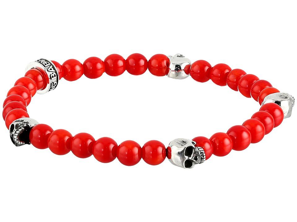 King Baby Studio 6mm Red Coral Bead Bracelet w/ 4 Skulls Red Bracelet