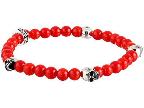 King Baby Studio 6mm Red Coral Bead Bracelet w/ 4 Skulls