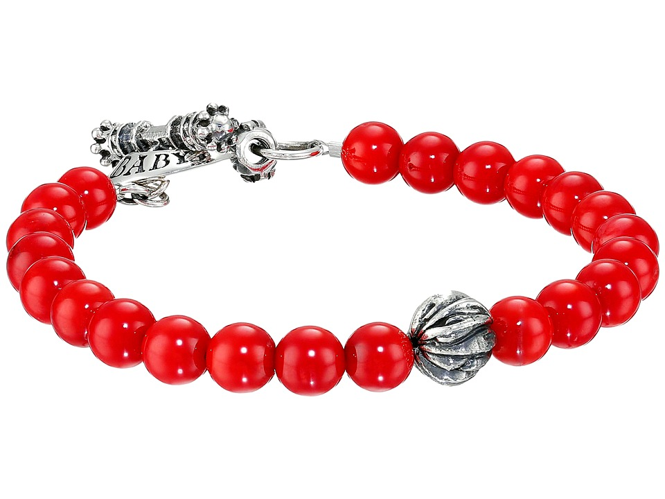 King Baby Studio 8mm Red Coral Bracelet with Silver Feather Bead Red/Silver Bracelet