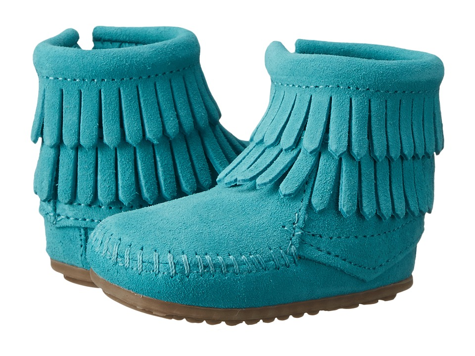 Minnetonka Kids - Double Fringe Side Zip Bootie (Infant/Toddler) (Turquoise) Girls Shoes