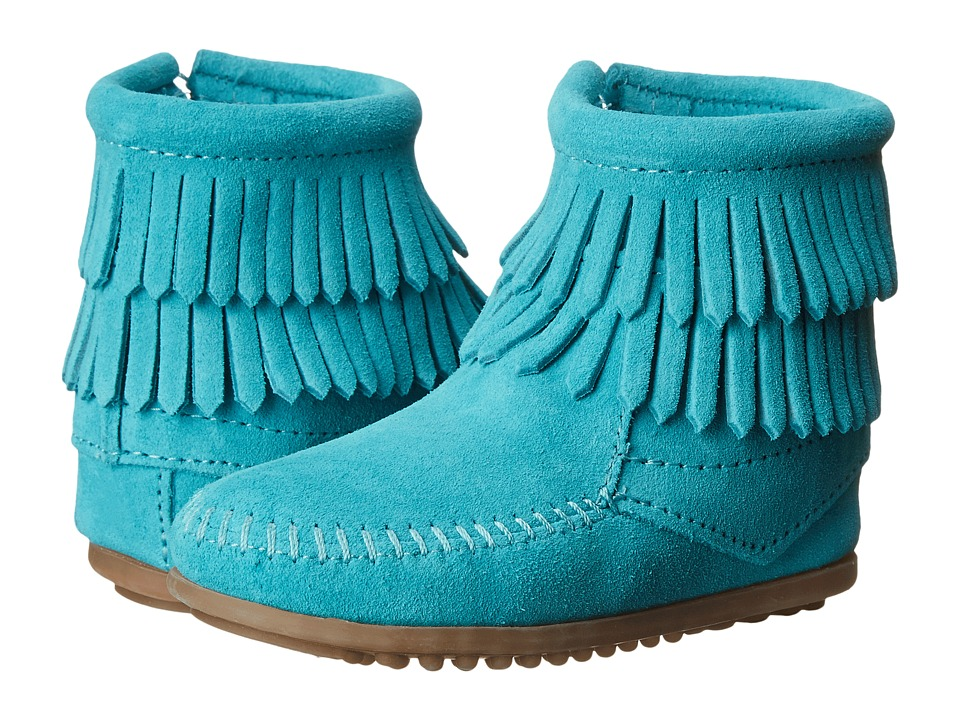 Minnetonka Kids - Side Zip Double Fringe (Toddler/Little Kid/Big Kid) (Turquoise) Girls Shoes