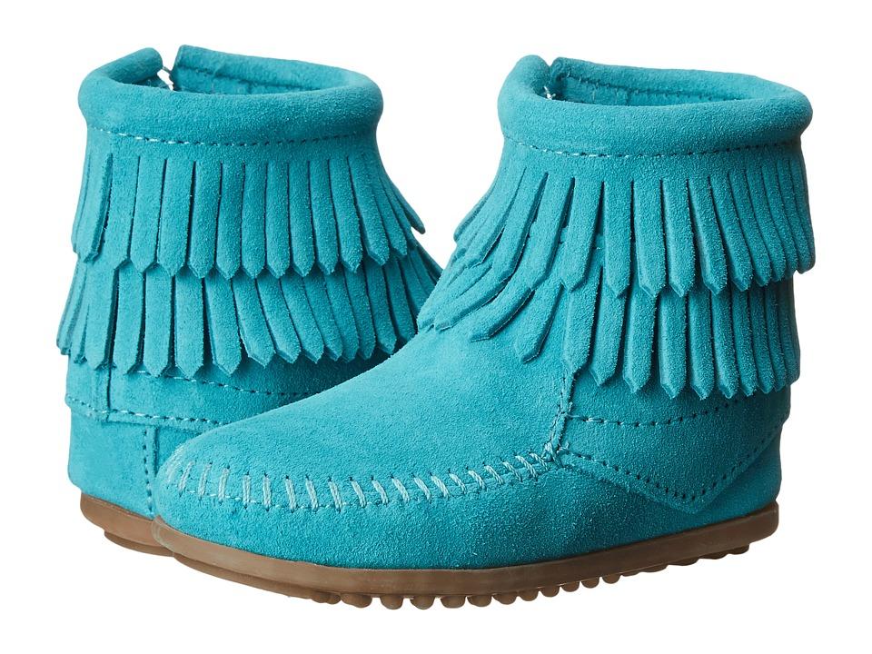 Minnetonka Kids - Double Fringe Side Zip (Toddler/Little Kid/Big Kid) (Turquoise) Girls Shoes