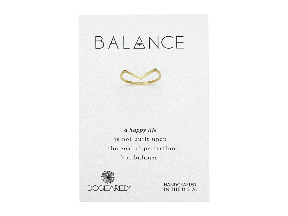 Dogeared Balance V Ring Gold Dipped Ring