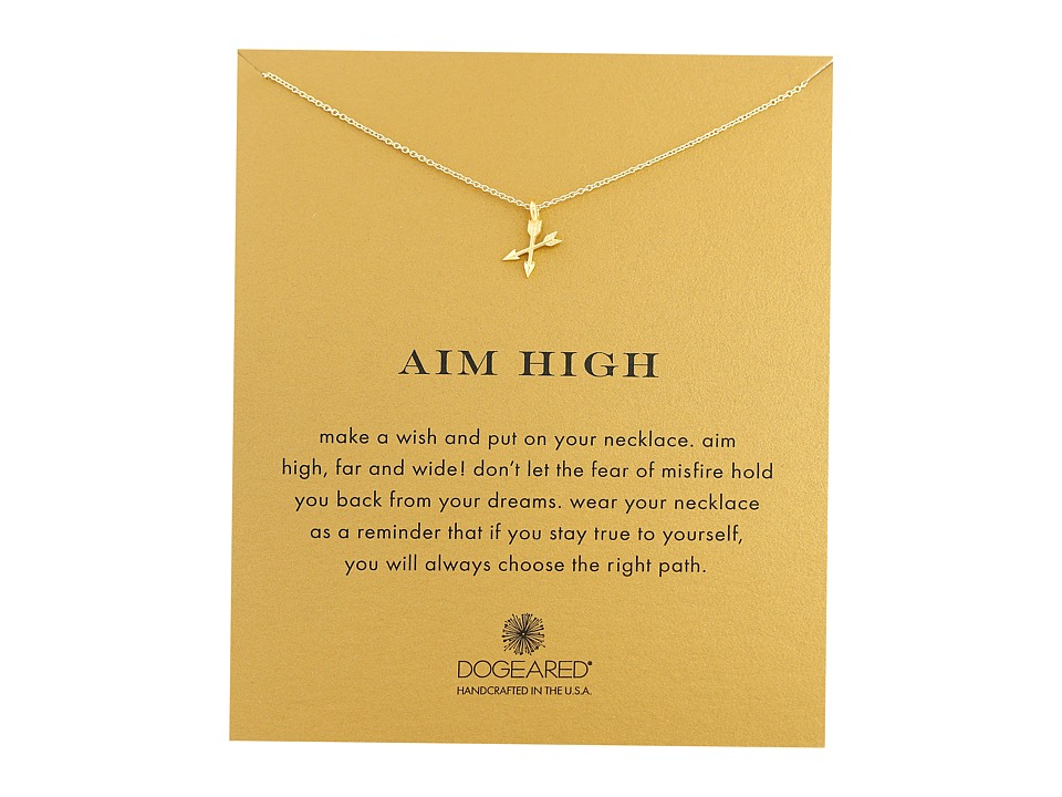Dogeared Aim High Crossing Arrows Necklace Gold Dipped Necklace