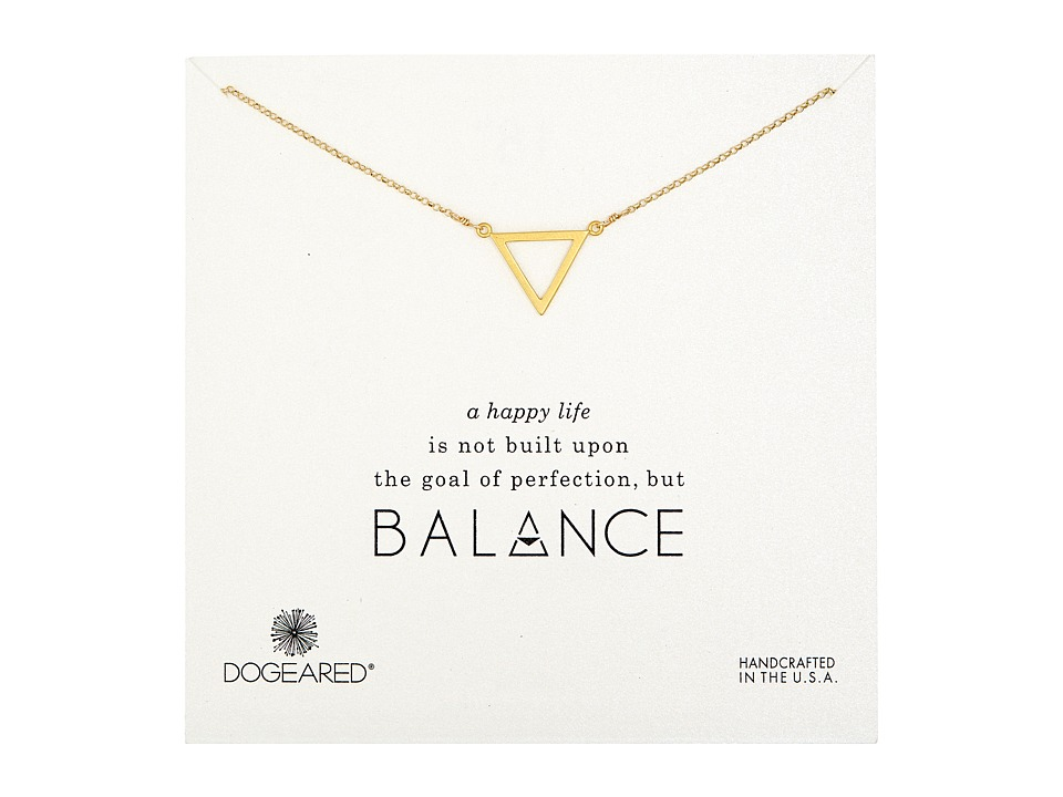 Dogeared Balance Large Open Triangle Necklace Gold Dipped Necklace