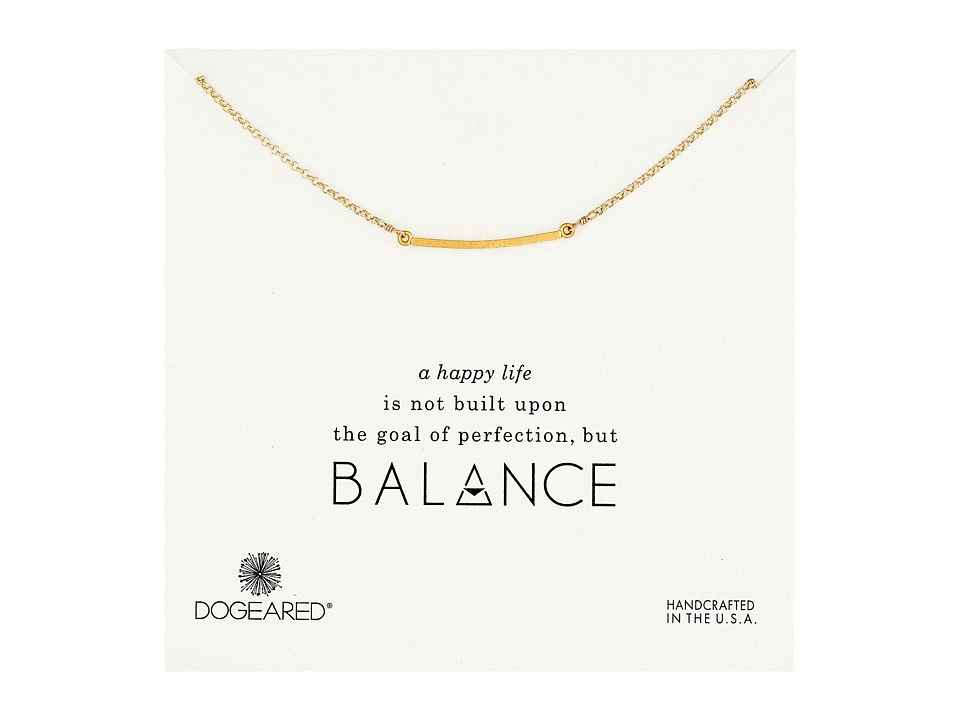 Dogeared Balance Medium Square Bar Necklace Gold Dipped Necklace