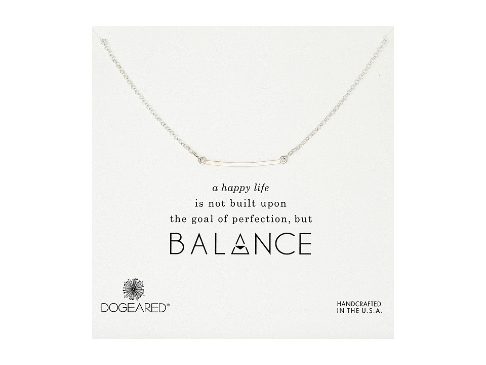 Dogeared Balance Medium Square Bar Necklace Sterling Silver Necklace