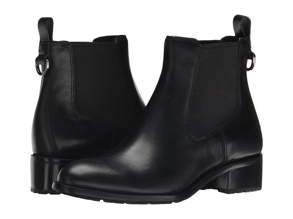 Cole Haan Newburg Waterproof Bootie (Black Leather) Women's Pull-on Boots