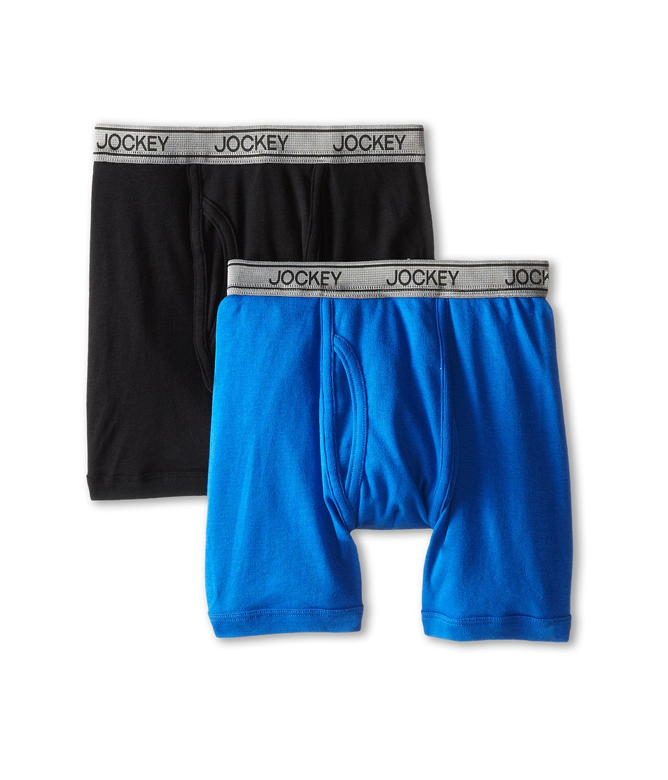 Jockey Kids Cotton Performance Boxer Brief 2 Pack Little Kids/Big Kids Black/Blue Boys Underwear