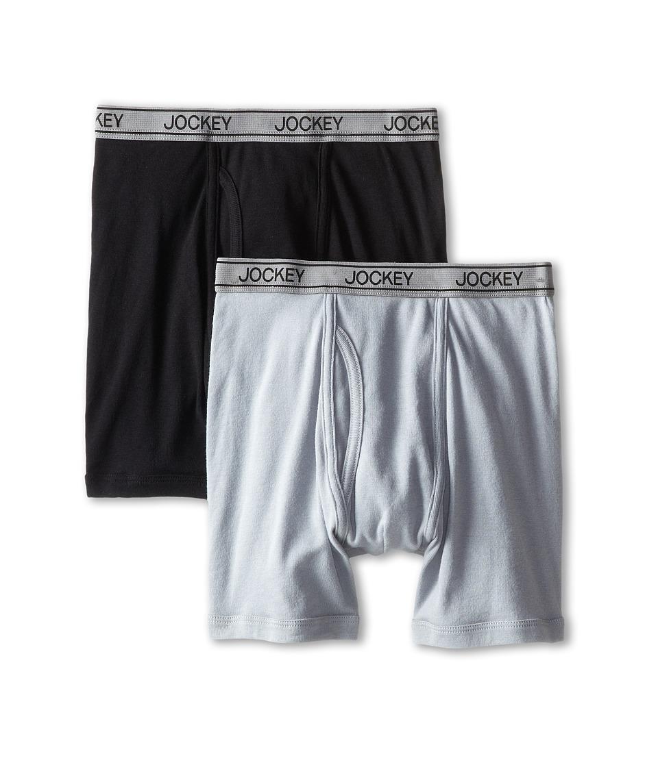 Jockey Kids Cotton Performance Boxer Brief 2 Pack Little Kids/Big Kids Black/Grey Boys Underwear