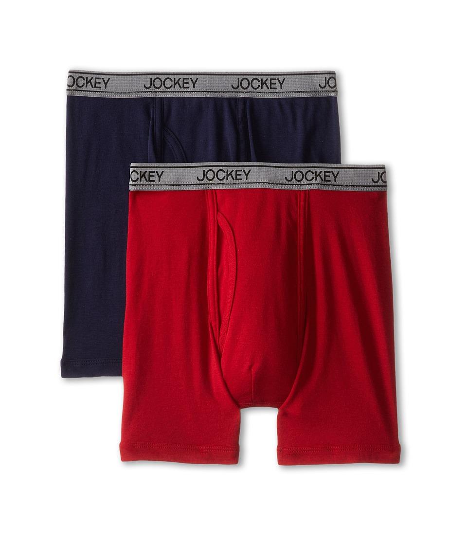 Jockey Kids Cotton Performance Boxer Brief 2 Pack Little Kids/Big Kids Red/Indigo Boys Underwear