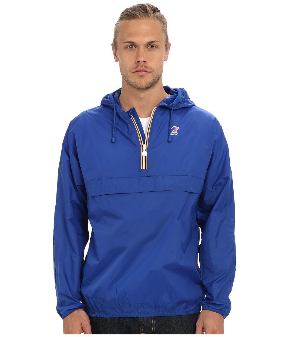 K WAY Leon Klassic Waterproof Half Zip Jacket w/ Hood Royal Blue Mens Coat