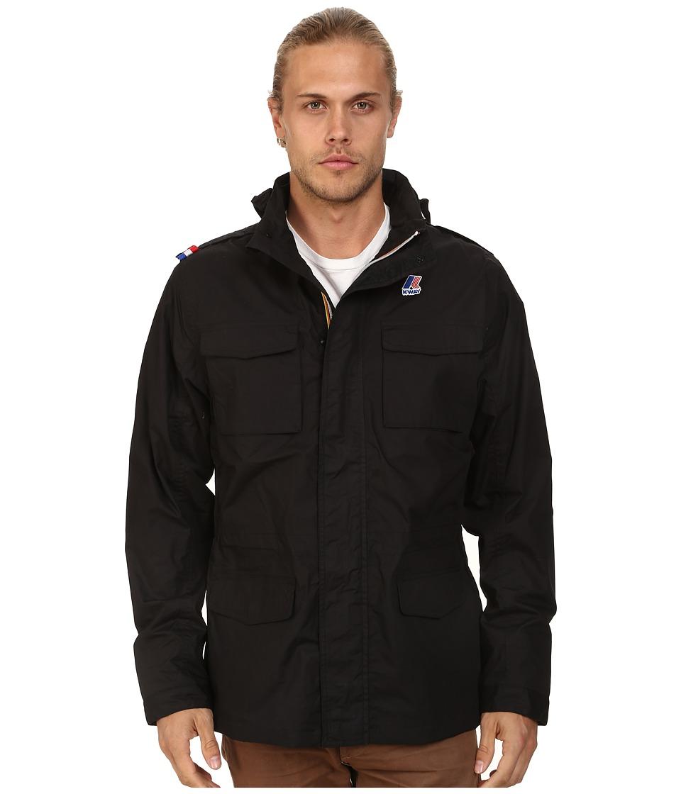 K WAY Manfield Waterproof Cotton Plus Jacket w/ Flex Hood Black Mens Coat