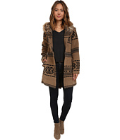 BB Dakota - Brenden Jacquard Coat with Faux Fur Trim Hood