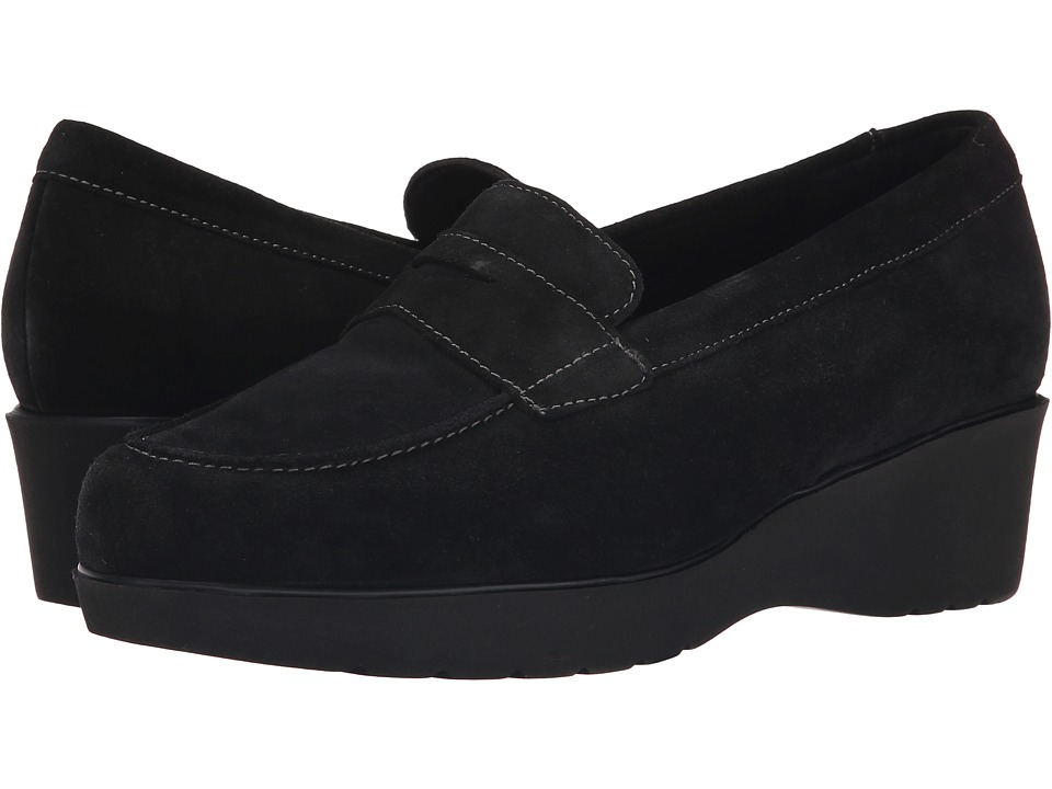 Munro American Katie Black Calf Suede Womens Slip on Shoes