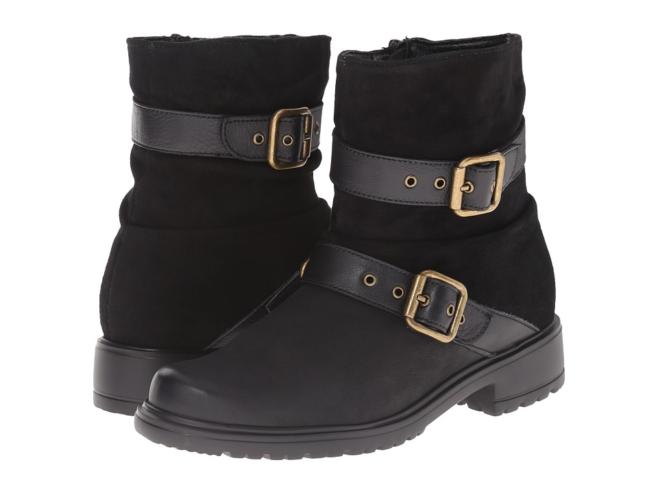 Munro American Dallas Black Leather Womens Pull on Boots