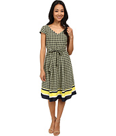 Jones New York - Cap Sleeve Pleat Dress w/ Self Belt