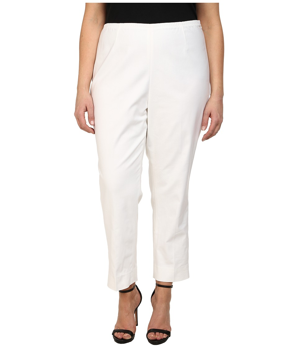 NIC+ZOE - Plus Size Perfect Side Zip Ankle Pants (Paper White) Womens Casual Pants