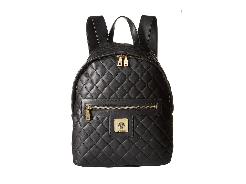 LOVE Moschino - I Love Superquilted Backpack (Black) Backpack Bags