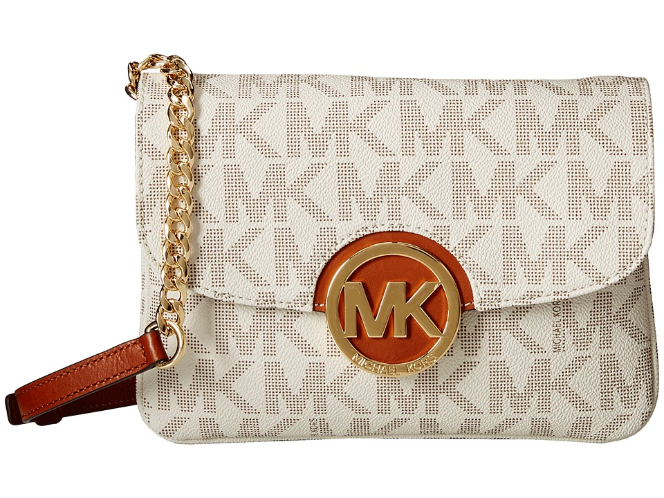 MICHAEL Michael Kors - Fulton Flap Gusset Crossbody (Vanilla) Cross Body Handbags