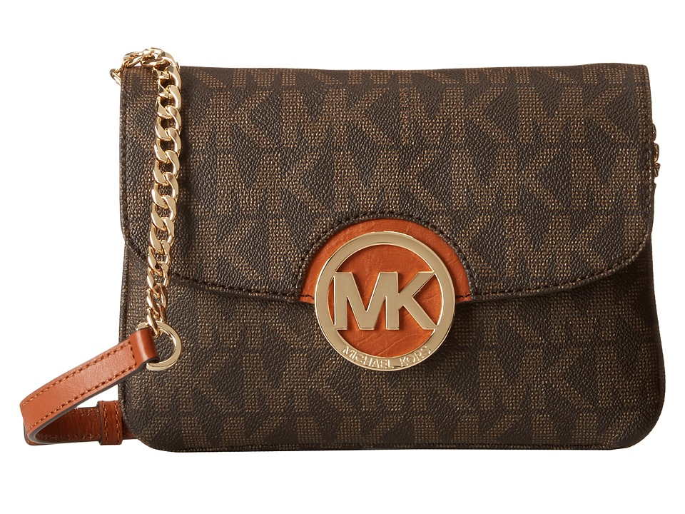 MICHAEL Michael Kors - Fulton Flap Gusset Crossbody (Brown) Cross Body Handbags