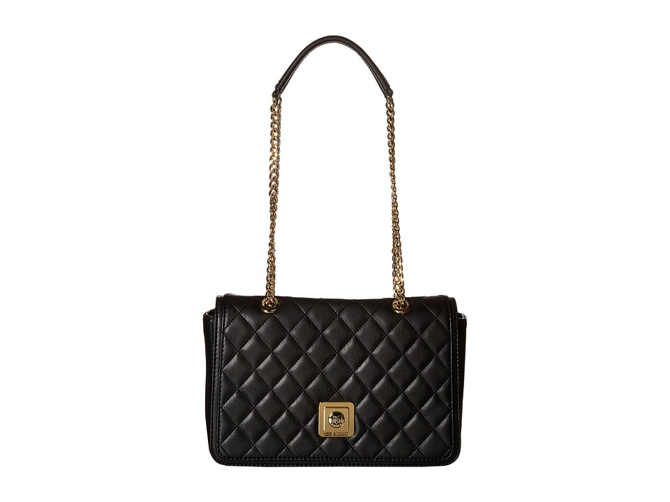 LOVE Moschino - I Love Superquilted Flap Bag (Black) Bags