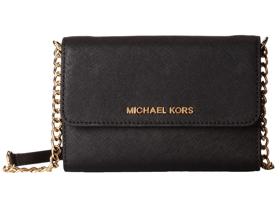 MICHAEL Michael Kors Jet Set Travel Large Phone Crossbody Black Cross Body Handbags