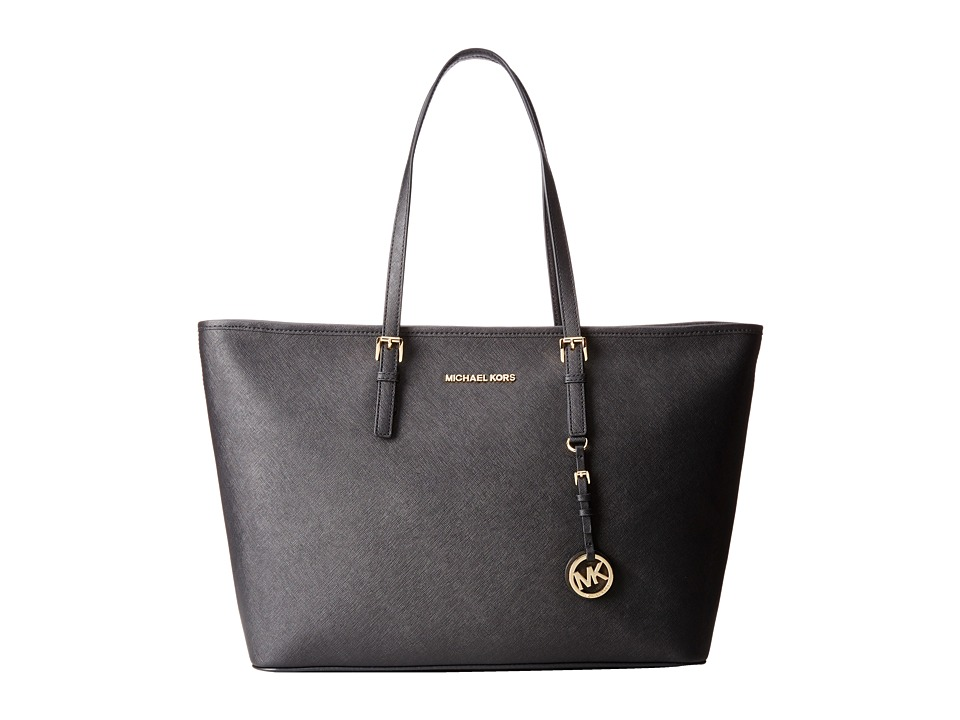 MICHAEL Michael Kors - Jet Set Travel Medium Top-Zip Multifunction Tote (Black) Tote Handbags