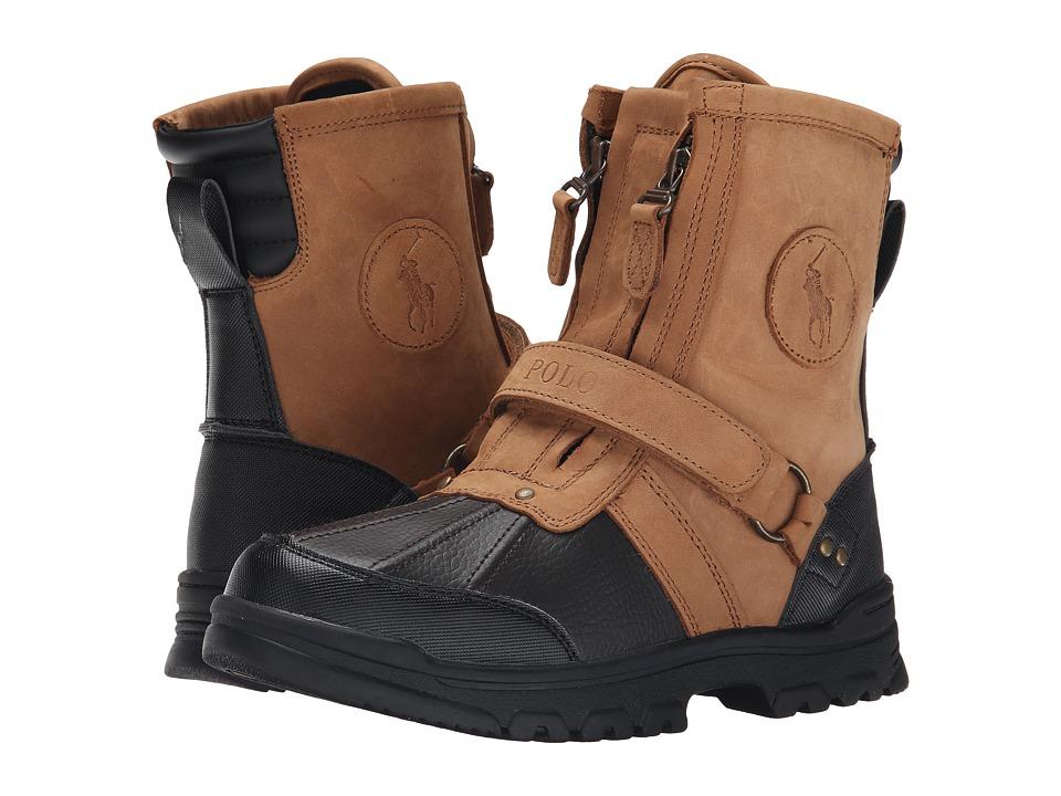 Polo Ralph Lauren Kids Conquest Hi Big Kid Chocolate/Tan Leather Boys Shoes
